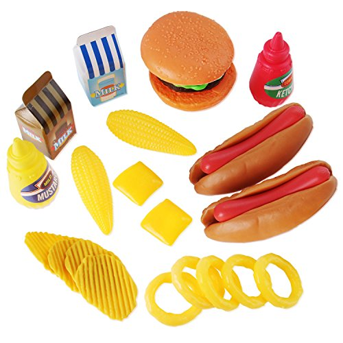 Face Dog Set - Liberty Imports Burger & Hot Dog Fast Food Cooking Play Set for Kids with Chips and Onion Rings