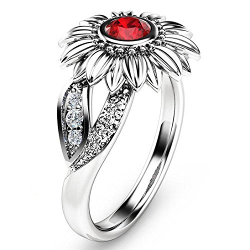 BEUU 2018 Sunflower Flower Color Zircon Ring Exquisite Women's Two Tone Silver Floral Round Diamond Red Jewel Rings for Women Jewelry Ring Women's Fashion (Type 2 Silver, 6) ()