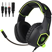 SADES SA818 New Version Xbox One PS4 PC Gaming Headset Game Headphones with Microphone for For New Xbox one PS4 Laptop Mac Tablet iPhone iPad iPod(Black&Green)