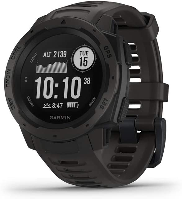 Garmin 010-02064-00 Instinct, Rugged Outdoor Watch with GPS, Features GLONASS and Galileo, Heart Rate Monitoring and 3-axis Compass, 1.27 , Graphite Renewed