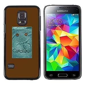 iKiki Tech / Estuche rígido - Text Monster Button Brown Sewing - Samsung Galaxy S5 Mini, SM-G800, NOT S5 REGULAR!