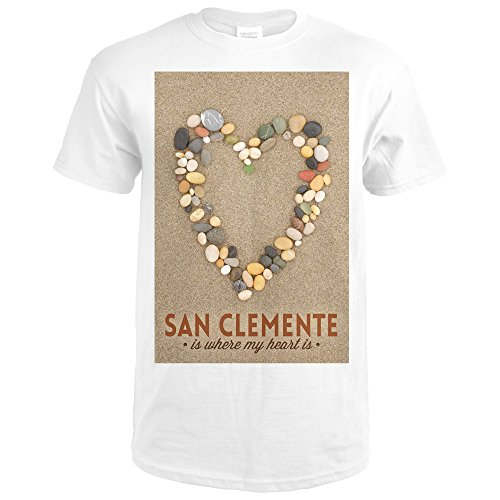 San Clemente Is Where My Heart Is - California - Stone Heart on Sand (Premium White T-Shirt - Where San California Clemente Is