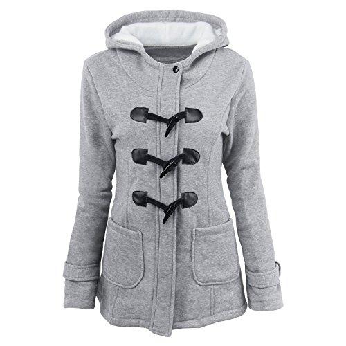 [해외]Daimer 여자 플러스 크기 가을 겨울 경적 단추 겉옷 따뜻한 까마귀 코트 자 켓/Daimer Women Plus Size Fall Winter Horn Button Outwear Warm Hoodie Coat Jacket