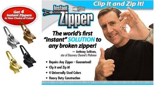 Instant Zipper- Set of 4 Replacement Zippers in Black (Fix A Zipper As Seen On Tv)