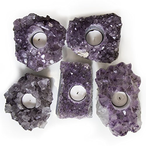 Rock Paradise Natural Amethyst Crystal Candle Holders Quartz - Amethyst Cluster Pillar Tea Light Candle Holders - Perfect for A Unique Atmosphere to Every Home and Wedding Décor