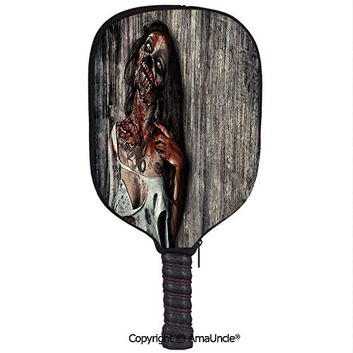 (SCOXIXI Neoprene Sports Pickleball Paddle Cover Sleeve,Personalized Angry Dead Woman Sacrifice Fantasy Mystic Night Halloween Image DecorativeRacquet Cover,Lightweight,Durable and)