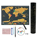 Scratch World Map Poster, Travel Tracker Map for Travelers 6 Kinds of Accessories