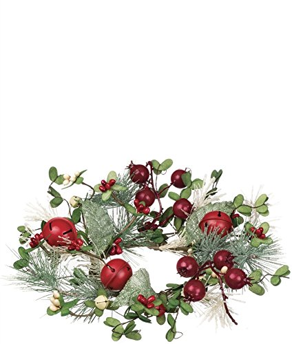 Sullivans Holly Berries & Bells Snow-Flecked Pine Needles Table Wreath (8