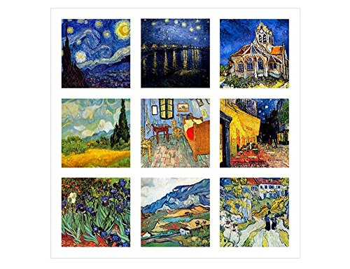 Alonline Art - Collage #4 Starry Night Cafe by Vincent Van Gogh | print on wall sticker vinyl decal (Rolled) | 12