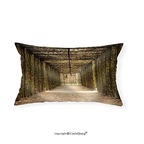 VROSELV Custom pillowcasesa Natural Tunnel in the Park of Hingene Belgium Suggestion Hope at the End of a Tunnel - Fabric Home Decor(16''x24'') by VROSELV