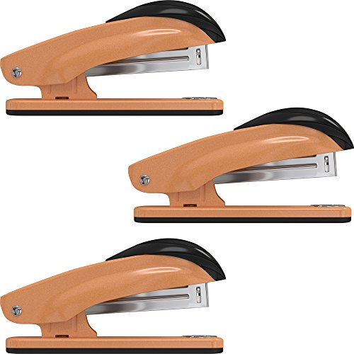 Desk Stapler Set (3 Pack) for Office, School and Home - Small, Compact, Effortless & Ergonomic Metal Design - 20 Sheets Standard 24-26/6 Size - Orange by desired tools