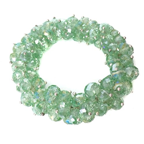Faceted Green - Gypsy Jewels Fancy Green Faceted Glass Bead Cluster Stretch Bracelet