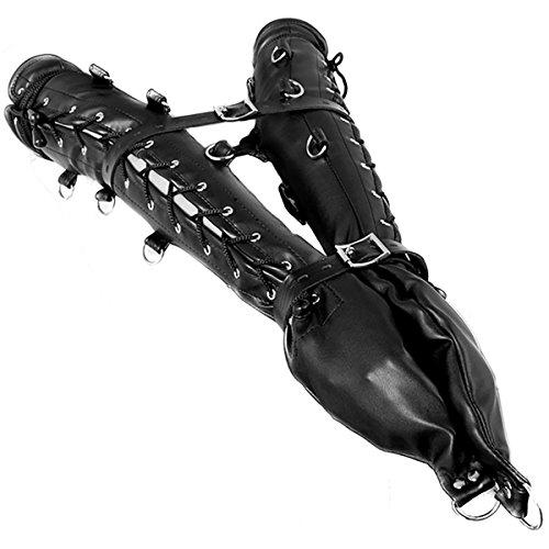 Double Gloves Arm & Leg Lockable Lacing Black Leather Belt