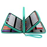 BTSKY160 Slots Colored Pencil Case- Deluxe PU Leather Handy Pencil Holder Organizer Zipper Pencil Box Large with Handle Strap for Colored Pencils Watercolor Pencils(Green)