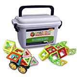 Magnawow 54-Piece 3D Magnetic Tile Building Blocks - Storage Box Included - Durable Magnet Shapes - Educational Construction STEM Toy For Ages 3+