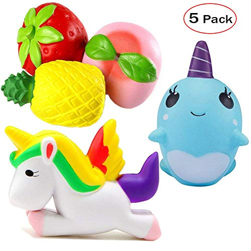 Squishes Jumbo Set, Zilbery Slow Rising Unicorn & Whale & Fruit Squishy Strawberry Peach Pineapples Charms Kawaii Cream Scented Stress Relief Toy