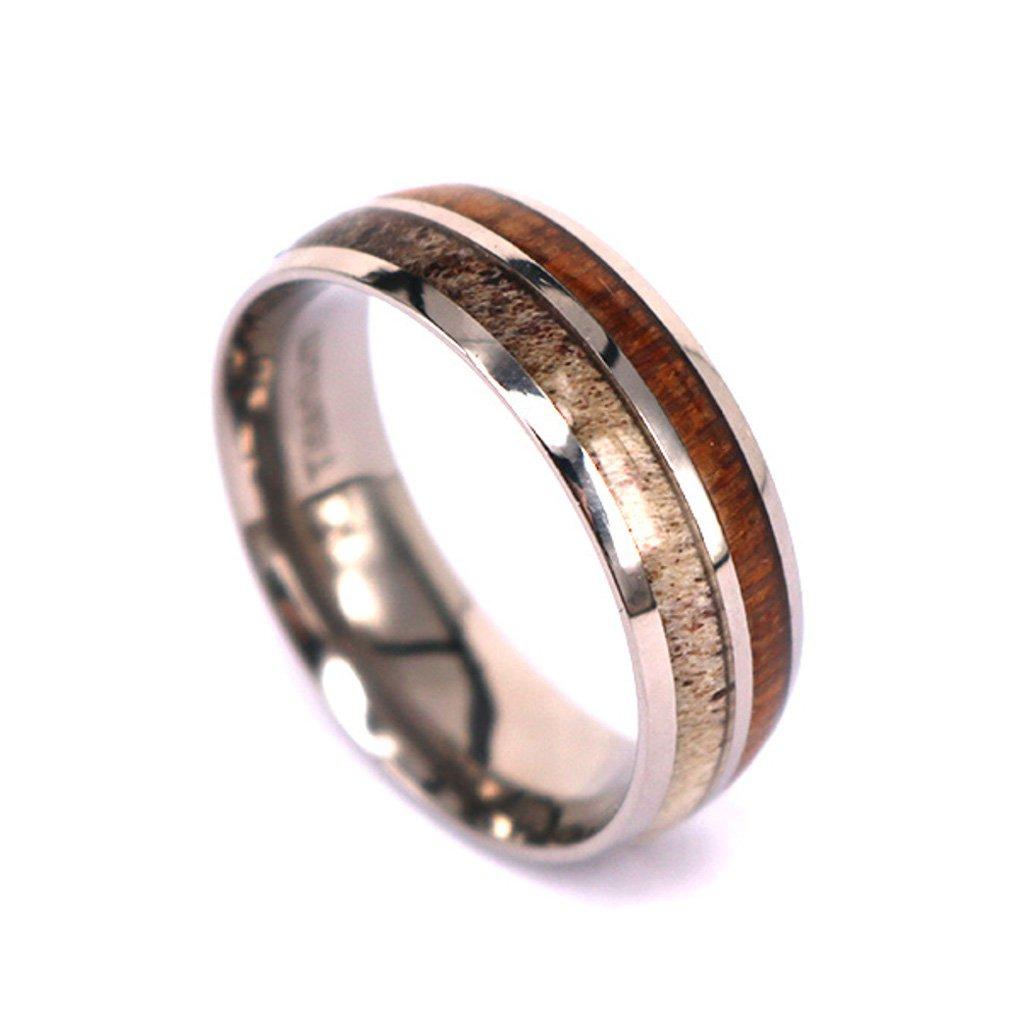 Natural Deer Antler Ring with Koa Wood Inlay - Unisex Titanium Hunter Ring #DAR4 (12)
