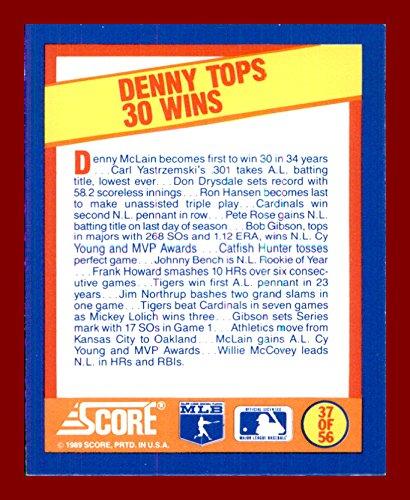 Denny Mclain Detroit Tigers (1990 Score Sportflics Mini A Year to Remember #37 1968 Denny McLain Detroit Tigers)