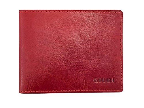 (Giudi Small Size Stilish Red Slimfold Men's Wallet 8 Card Holder with Gift Box Classic Elegant Italian Design)