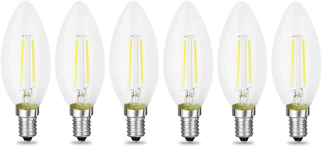 Warm White 2700 Kelvin 200LM iRotYi E12 Base Lamp 3-Pack 20W Incandescent Bulbs Replacement Dimmable 2W AC 120V LED Filament Light Clear Candle Bulbs C35