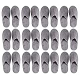 Disposable Slippers - 12-Pack Disposable Slippers, Great for Hotel, Spa, Guest, Nail Salon Use - Non-Slip - Made From Fleece, Grey - fits up to US Men's Size 11 and US Women's Size 12