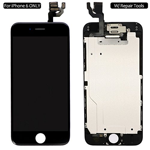 Screen Replacement For iPhone 6 Black, Fully Pre-Assembled LCD Display and Touch Screen Digitizer Replacement for A1549/A1586/A1589, Including Repair Tools