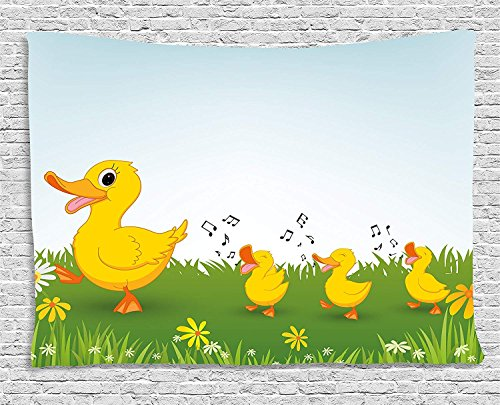 (TAMMY CHAPPELL Cartoon Tapestry, Mother Duck and Babies Walking and Singing on the Meadow with Flowers, Wall Hanging for Bedroom Living Room Dorm, 60 W X 40 L Inches, Mustard and Light Blue )