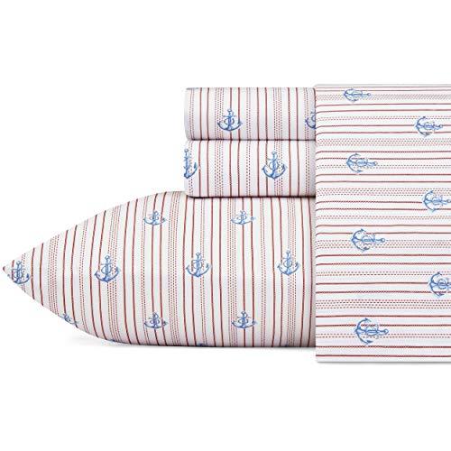 (Nautica Curt Stripe Sheet Set, King, Red)