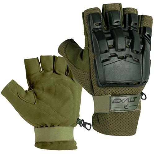 Exalt Paintball Hardshell Gloves - Hard Back Fingerless - Olive - L/XL