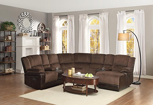 Homelegance 5 Piece Microfiber Bonded Leather Sectional Reclining