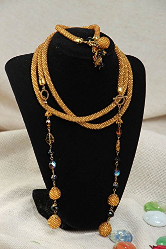 Handmade Woven Beaded Jewelry Set 2 Pieces Lariat Necklace And Bracelet (2 Piece Lariat)