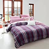 Deep Sleep Home 300 Thread Count 100% Cotton Flannel Yarn-dyed Pin Striped Plaid Pattern 3pc Duvet Cover Set Color Purple Full/Queen Size(Queen, Edinburgh-ED)