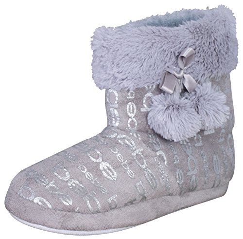 'Bebe Girls Plush Slipper Boots with Metallic Bebe Print, Faux Fur Cuff, and Bow Pom Pom, Grey, Size 13/1'