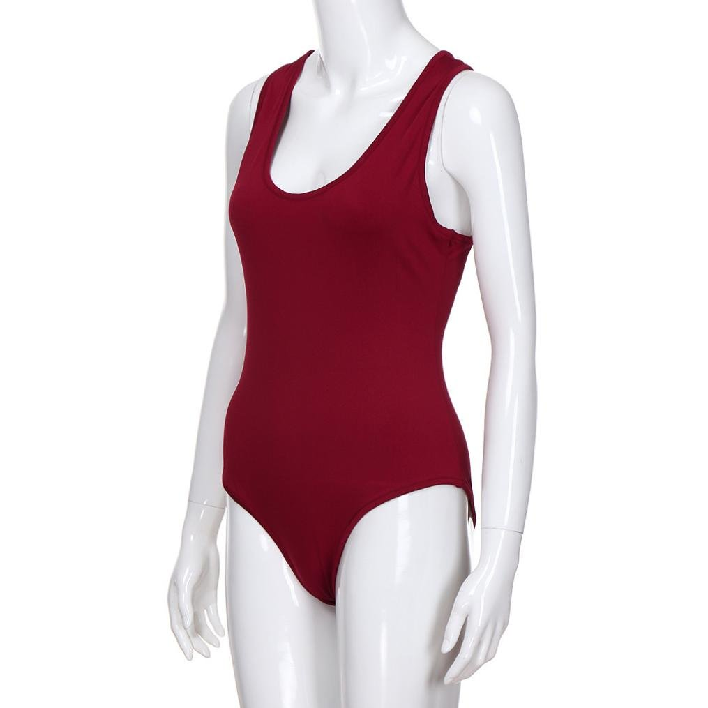 26301c2fed65 Amazon.com  Sexy Solid Playsuits Short Sleeveless Yoga Bodysuit Skinny  Summer Bravetoshop (L