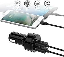 AUKEY Cargador de Coche 24W Dos Puertos con Tecnología AiPower, Mini Adaptador de Coche para iPhone X / 8 / 8 Plus / 7, iPad Air / Pro / mini, ...