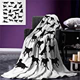 Anniutwo Labrador Blanket Black Silhouettes Pets in Various Positions Friendly Playful Gun Dogs Digital Printing Blanket 60''x36'' Black White