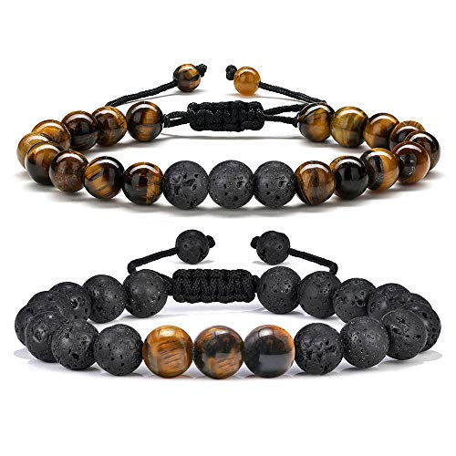 Anxiety Bracelet for Men Bead - 8mm Tiger Eye Stone Beads Bracelet Adjustable Natural Matte Agate Onyx Yoga Essential Oils Anxiety Aromatherapy Bracelets Jewelry Birthday Gifts for Men