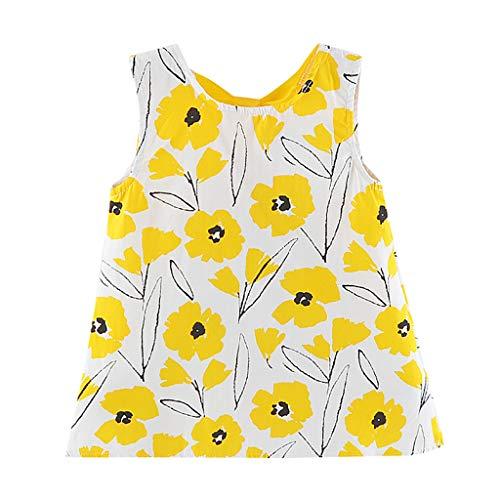 RAINED-Toddler Baby Girls Sleeveless Floral Dress Cartoon Dot Print Dress Outfits Swing Bow Sundress Summer Beach Dress