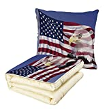 Quilt Dual-Use Pillow American Flag Decor Bless America Flag in The Wind with Eagle Icon Double Exposure Citizen Image Multifunctional Air-Conditioning Quilt Multi