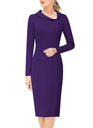 bc8cbc0d6cc VFSHOW Womens Asymmetrical Lapel Slim Work Business Office Sheath Dress  1181 PUP XS