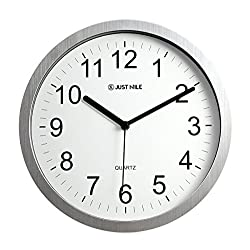 JustNile 10 Classic Round Quiet Silver Frame Wall Clock with Black Hands