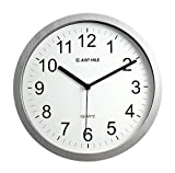 JustNile 10'' Classic Round Quiet Silver Frame Wall Clock with Black Hands