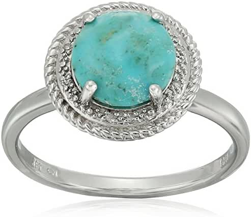 Sterling Silver Rope Turquoise Diamond Ring