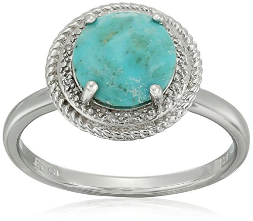 Sterling Silver Rope Turquoise Diamond Ring, Size 6