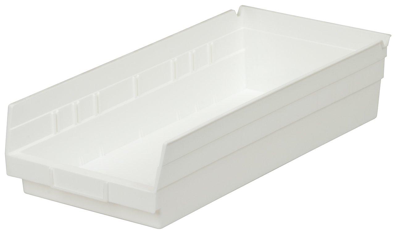 Akro-Mils 30150 12-Inch by 8-Inch by 4-Inch Plastic Nesting Shelf Bin Box, White, Case of 12