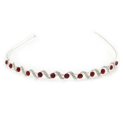 Bridal/ Wedding/ Prom Rhodium Plated Red/ Clear Crystal Tiara Headband gdFQH3Ucs