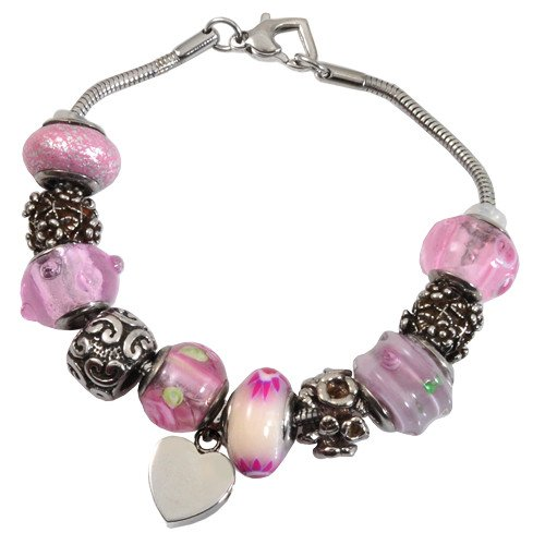 Memorial Gallery Memorial Pink Remembrance Bead Pet Heart Urn Charm Bracelet, 9'' by Memorial Gallery