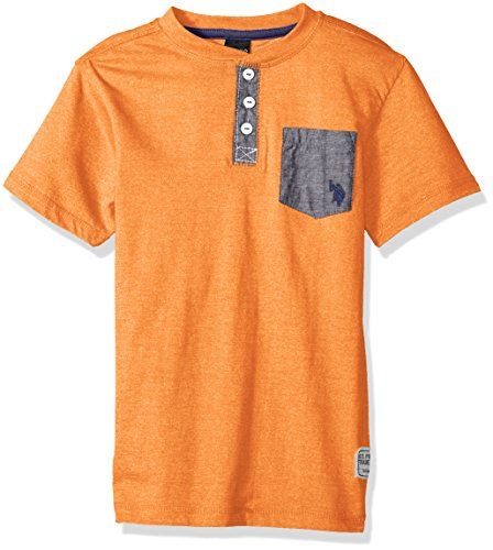 (U.S. Polo Assn. Boys Short Sleeve Solid Henley T-Shirt, Marbled Jersey Chambray Pocket Marled Orange 18)