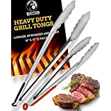 """Grill Tongs for Cooking BBQ - Heavy Duty Grilling Tongs for Cooking & Serving Food in The Sizes You Need - 12 & 16"""" - Long Lo"""