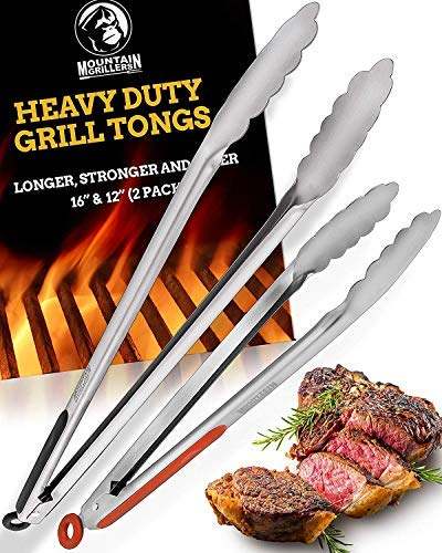 Grill Tongs for Cooking BBQ – Heavy Duty Grilling Tongs for Cooking & Serving Food in The Sizes You Need – 12 & 16…